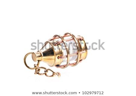 Messing klein lantaarn keten ontwerp glas Stockfoto © calvste