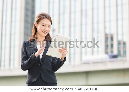 Asiático empresária comprimido cara trabalhando retrato Foto stock © ambro
