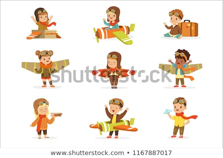 Stock photo: Pilot with suitcase. Vector illustration