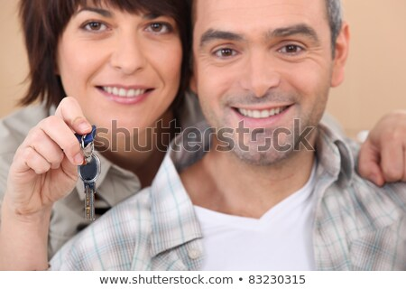 Stock fotó: érett · pár · magasra · tart · szett · kulcsok · ház