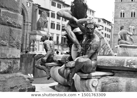 Part of the fountain of Neptune sculpture in Florence, Italy.  stock photo © pixelmemoirs