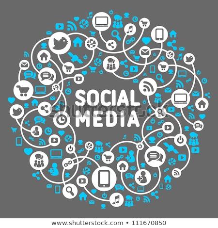 médias · sociaux · bleu · linéaire · sociale · réseau - photo stock © cienpies