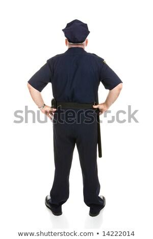Stok fotoğraf: Polis · memuru · arka · olgun · üniforma