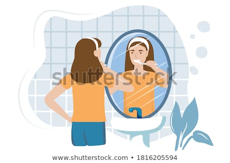 woman cleans teeth Stock photo © ssuaphoto