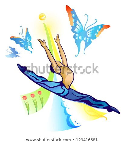 Słońce baletnica niebo Motyl charakter sportowe Zdjęcia stock © arlatis