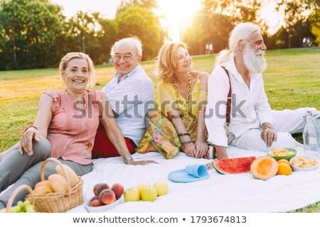 Idős nő piknik barátok bor nők Stock fotó © photography33
