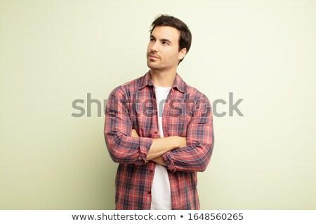 Elegáns fiatal jóképű férfi másfelé néz haj üzletember Stock fotó © Victoria_Andreas