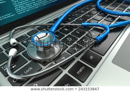 Laptop estetoscópio reparação de computadores internet saúde metal Foto stock © gladiolus