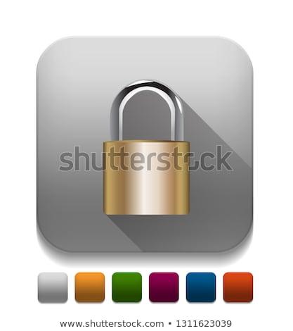 vector · combinatie · hangslot · icon · chroom · Blauw - stockfoto © oblachko