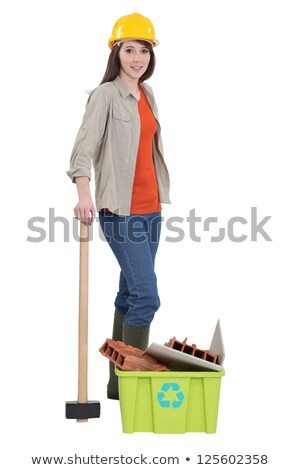 female construction worker recycling old material stock photo © photography33