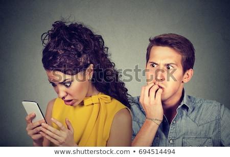 Férfi olvas szöveges üzenet mobil üzletember mobiltelefon Stock fotó © dash