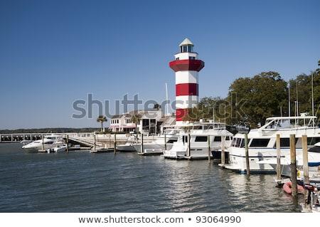 Kafa liman kasaba deniz feneri kırmızı beyaz Stok fotoğraf © saje