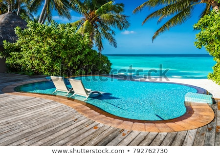 Luxury pool with loungers stock photo © sophie_mcaulay