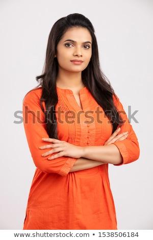 elegáns · fiatal · barna · hajú · nő · portré · nyugodt · néz - stock fotó © lithian