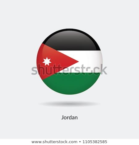 Vidro botão bandeira Jordânia vermelho arco Foto stock © maxmitzu