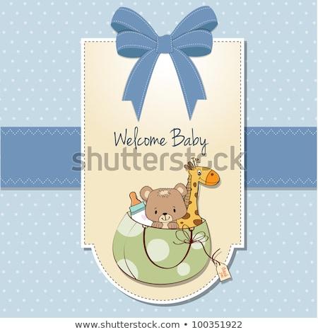 Foto stock: Novo · bebê · anúncio · cartão · saco · brinquedos