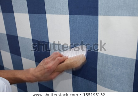 decorator hanging wallpaper with work tool in motion Stock photo © vladacanon