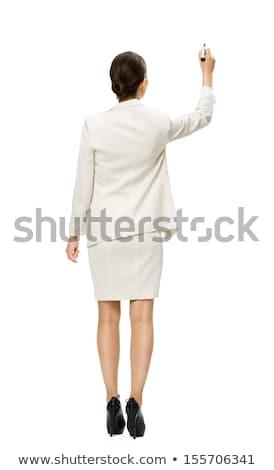 Сток-фото: брюнетка · деловая · женщина · Дать · копия · пространства · виртуальный · экране