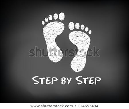 Stock fotó: Lépés · kréta · illusztráció · személy · rajz · mutat