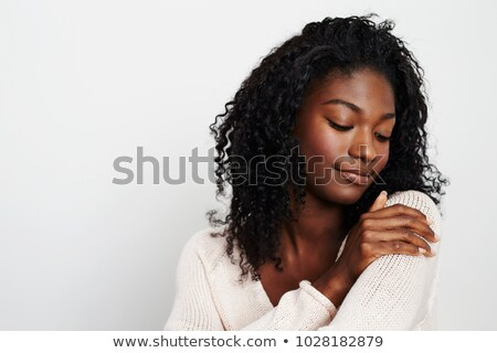 Stock photo: woman with long hair looking down