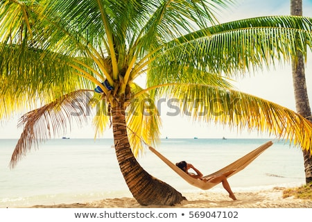 black woman silhouette relaxing on tropical beach stock photo © lordalea