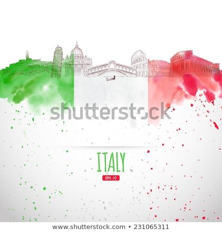 Bandeira italiana coliseu tiro icônico viajar bandeira Foto stock © ca2hill