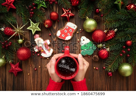 女性 · ホット · カップ · 茶 · クッキー - ストックフォト © artjazz