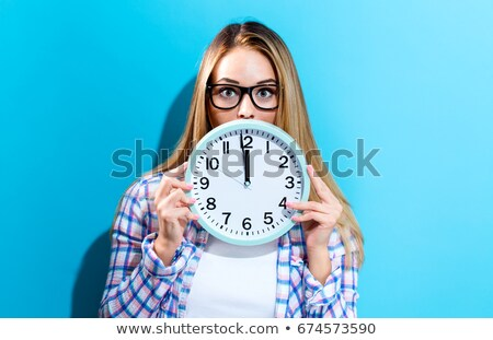 glasses and clock at midnight stock photo © stephaniefrey