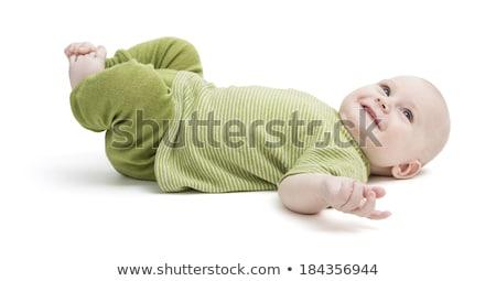 Gelukkig Maakt een reservekopie groene kleding geïsoleerd Stockfoto © gewoldi