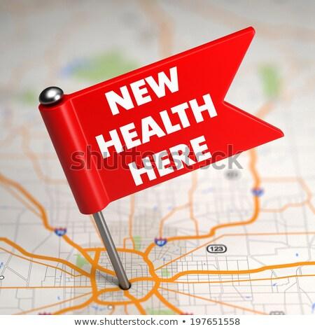 új egészség itt kicsi zászló térkép Stock fotó © tashatuvango