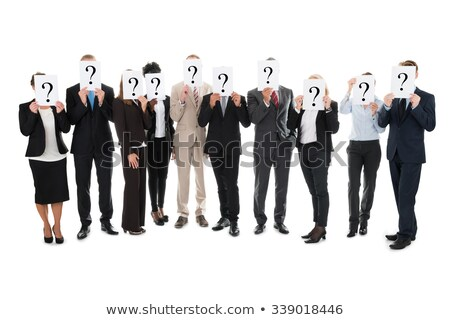 Mature woman showing question mark on white background Stock photo © bmonteny