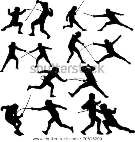 meisje · schermen · silhouetten · strijd · gevaar · wapen - stockfoto © Slobelix