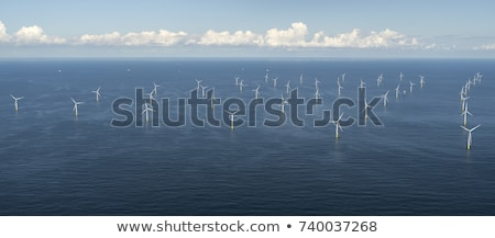 Aerial view of wind turbines at sea Stock photo © backyardproductions