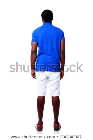 Ver de volta retrato africano homem branco moda Foto stock © deandrobot