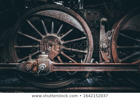 Locomotiva roda velho vintage vermelho preto Foto stock © eleaner