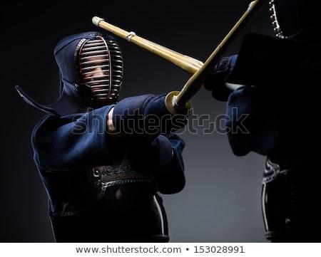 Foto stock: Lutador · retrato · homem · silhueta · escuro · bambu