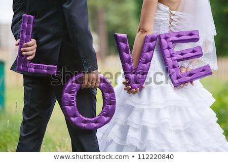 Miłości pierścienie piękna sukienka Brzoskwinia Zdjęcia stock © vinnstock
