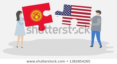 USA Kirgizië vlaggen puzzel vector afbeelding Stockfoto © Istanbul2009