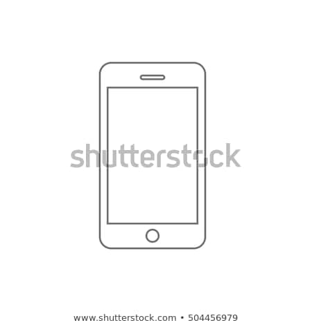 Foto stock: Telefone · tela · simples · ícone · branco · quadro