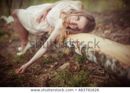 Photo stock: Séduisant · blond · femme · exotique · jardin · dame