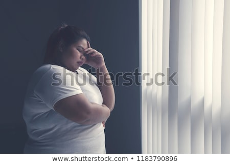 woman silhouette with hand gesture headache Stock photo © Istanbul2009