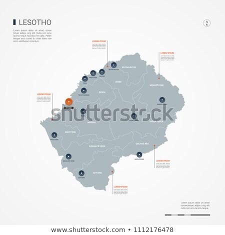 orange button with the image maps of Lesotho Stock photo © mayboro