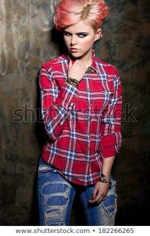 rebel · meisje · mooie · jonge · vrouw · witte · jurk · zonnebril - stockfoto © fanfo