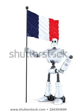 Android robot ayakta bayrak Fransa yalıtılmış Stok fotoğraf © Kirill_M