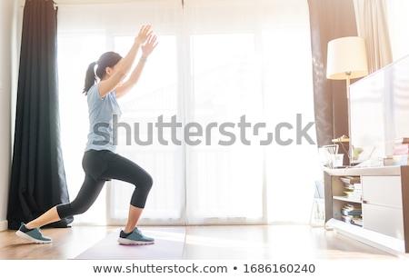 adım · aerobik · örnek · kız · gülümseme · uygunluk - stok fotoğraf © adrenalina