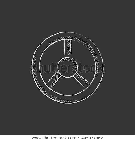 Steering wheel icon drawn in chalk. Stock photo © RAStudio