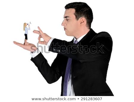 Arrogant business man finger flipping on little woman Stock photo © fuzzbones0