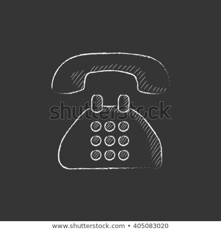 telefon · rajzolt · kréta · kézzel · rajzolt · iskolatábla · vektor - stock fotó © rastudio