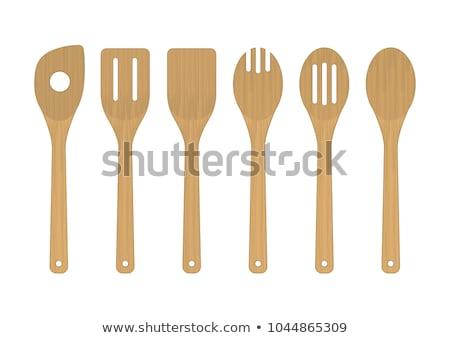 Ingesteld keuken spatel witte vork lepel Stockfoto © ozaiachin