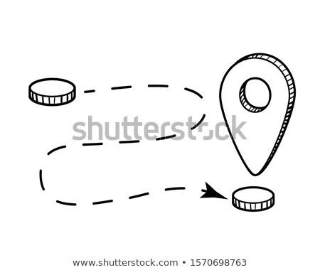 mapa · pin · ícone · linha · estilo · terra - foto stock © pakete